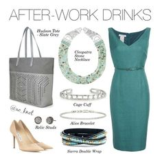 Stella & Dot | After-Work Drinks | Even at the end of the day you'll still be the most stylish! Shown: Cleopatra Stone Necklace, Cage Cuff, Alice Bracelet, Sierra Double Wrap Bracelet, Hudson Tote Large - Slate Grey http://www.stelladot.com/kelseywittner