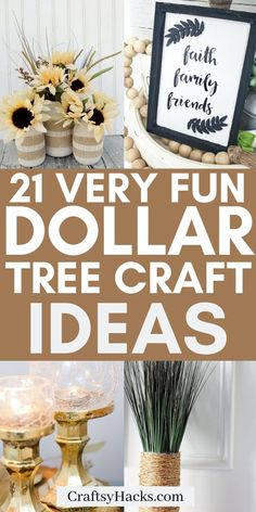 21 Creative Dollar Tree Crafts for Low Budgets Try some of these dollar store crafts and diy on a low budget. Try these dollar tree projects and enjoy crafting with dollar tree products. Diy Craft Projects, Diy Home Crafts, Easy Diy Crafts, Diy Crafts To Sell, Diy Crafts For Kids, How To Sell Diy Projects, Home Craft Ideas, Decor Ideas, Budget Crafts