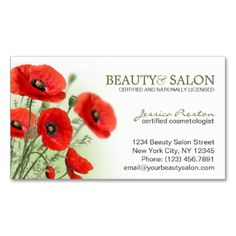 Cosmetology Or Beauty Salon Business Card This eye-catching cosmetology or beauty salon business card, featuring beautiful, red poppies, makes a great profile card for cosmetologists, beauticians, beauty, hair or nail salons and other creative professions.