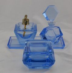 Art Deco Glass Dresser Set Perfume Powder Tray and Lighter