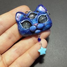 Space Blue Kitty Pendant OOAK Polymer Clay Three Eyed Cat Necklace by FleurDeLapin on Etsy