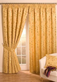 Crathorne Gold Lined Curtains