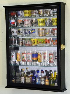 Amazon.com | Large Mirror Backed and 7 Glass Shelves Shot Glasses Display Case Holder Cabinet, Black: Wall Mounted Cabinets: Shot Glasses