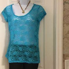 Derek heart lace blue top Stretchy lace90% nylon,,10% spandex top Derek Heart Tops Blouses