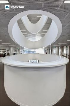 Kaisa House is the central library in Helsinki, and they designed a magnificant oval atrium that rises through the building and creates balcony walls. To improve the acoustics of the space, the Anttinen Oiva Architects used Rockfon® Mono® Acoustic to create calm and quiet environments for the users. The design of Rockfon® Mono® Acoustic complemented the smooth surface and curves, that we aimed for the library. #SoundsBeautiful #Rockfon #librarydesign #design #acoustics #inspiration #sound Ceiling Design, Wall Design, Acoustic Design, Library Architecture, Central Library, Sound Absorbing, Home Libraries, Library Design, Visual Comfort