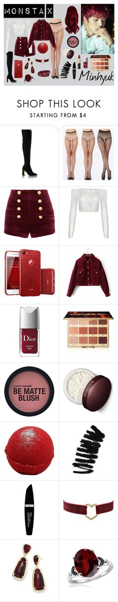 """Monsta X's Minhyuk Beautiful Inspired"" by highlight1 on Polyvore featuring Pierre Balmain, Christian Dior, tarte, Laura Mercier, Bobbi Brown Cosmetics, Max Factor, Kendra Scott, Jewelonfire, beautiful and kpop"