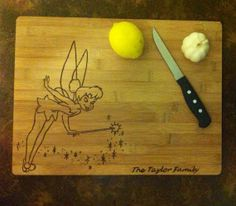 Tinkerbell woodburned cutting board by bitchNstitch2013 on Etsy, $38.50