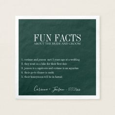 Shop Fun Facts Deep Teal Personalized Napkins created by PoshPaperCo. Personalized Napkins, Personalized Wedding, Vintage Invitations, Wedding Invitations, Wedding Mint Green, Deep Teal, Wedding Humor, Paper Napkins, Save The Date Cards