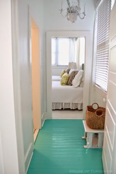 House of Turquoise: Southern Tides - Tybee Island, Georgia - turquoise wood floor! House Of Turquoise, Turquoise Cottage, White Painted Wood Floors, White Walls, Do It Yourself Design, Beach House Decor, Home Decor, Beach Houses, Tybee Island