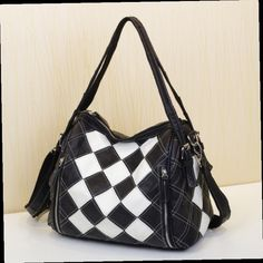 48.00$  Buy now - http://alitdz.worldwells.pw/go.php?t=1837748799 - 2016 trend bags casual unique black and white plaid personalized bag one shoulder cross-body women's cowhide handbag