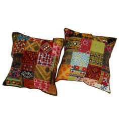 Multicolor Pillow Case Lot Of 2 Patchwork Cushion Cover Kutch Embroidered Art 24  -  Ebay $40.00