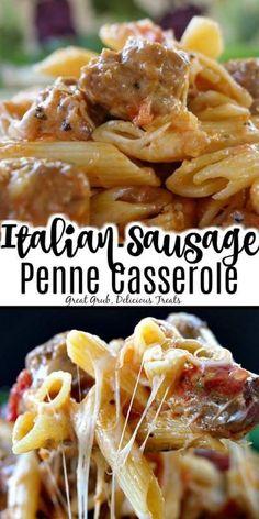 50 Comforting Casserole Recipes For Dinner - Recipe Magik Italian Sausage Casserole, Chicken Stuffing Casserole, Italian Sausage Recipes, Easy Casserole Recipes, Easy Pasta Recipes, Cooking Recipes, Game Recipes, Copycat Recipes, Casserole Dishes