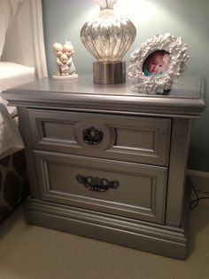 Martha Stewart Metallic Paint at Home Depot takes old furniture from drab to FAB!  Reclaiming The Empty Nest: Not Just Your Mothers Bedside Table! #oldfurniture