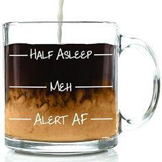Half Asleep Funny Glass Coffee Mug