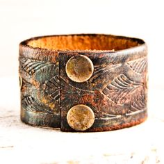 SALE Leather Cuffs Bracelets Vintage Handmade Upcycled Jewelry. $20.00, via Etsy.
