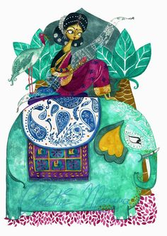 A fine art print entitled Story From India by Marina Plantus! Art Painting, Indian Drawing, Art, Painting Art Projects, Easy Canvas Art, Elephant Illustration, Mother Art, Doodle Drawings, Cartoon Art