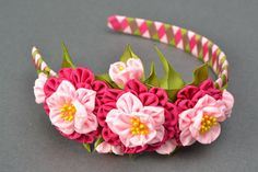 Rep ribbon flower headband by YourHairStyle on Etsy