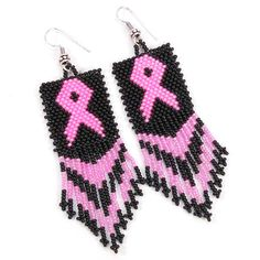 Black Pink Breast Cancer Awareness Beaded Earrings:$4.96