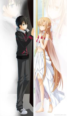 Sword Art Online, Kirito and Asuna. I swear, I will watch this during Thanksgiving/Christmas break!!