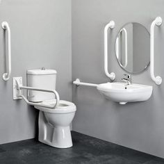 White Tall Toilets For Disabled With Arms And Handle Beside Oval Wall Mirror In The Corner Bathroom Spaces Ideas, Tall Toilets Bathroom Ada Bathroom, Relaxing Bathroom, Simple Bathroom, Easy Bathrooms, Handicap Toilet, Handicap Bathroom, Washroom, Wheelchair Accessible Shower, Tall Toilets