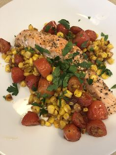 sheet pan salmon salmon with corn and tomatoes | Cooking with Candi