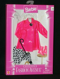 1996 Barbie Fashion Avenue Boutique Pink Rain Coat Boots Hat Umbrella New | eBay