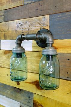 industrial upcycled lighting from Mason jars in lights with vintage upcycled lighting vintage lighting Vintage upcycle one of a kind mason . Pipe Lighting, Mason Jar Lighting, Rustic Lighting, Industrial Lighting, Mason Jar Lamp, Vintage Lighting, Outdoor Lighting, Lighting Design, Lighting Ideas