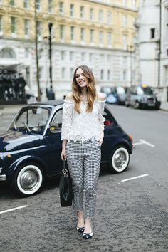 Lace Top & Dogtooth