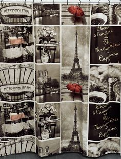 Cafe Paris Printed Shower Curtain