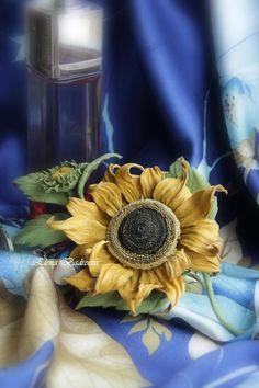 """МК Брошь из кожи """"Подсолнух"""" - Ярмарка Мастеров - ручная работа, handmade"""