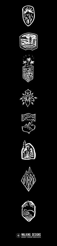Icons, Logos, Apparel Designs, Illustration Work, Tropical Designs, Mountain Design, Branding.