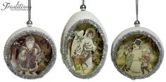 My mom used to make these in the 1960s! Love this. Re-use those wonderful old Christmas cards into eggshell ornaments.
