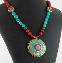 Tibetan Pendant with Turquoise and Coral by RivendellRockJewelry, $70.00