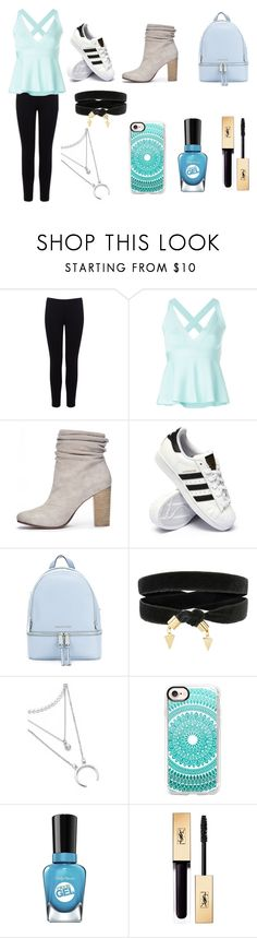 """""""Bleu"""" by jada-gymnast-639 ❤ liked on Polyvore featuring Warehouse, Boutique Moschino, Chinese Laundry, adidas, MICHAEL Michael Kors, Casetify, Sally Hansen and Yves Saint Laurent"""