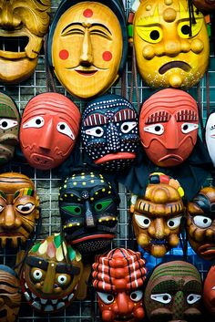 Korean Masks, Insadong Arts and Crafts distirict by Seoul Korea, via Flickr