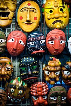 Korean Masks, Insadong Arts and Crafts distirict by Seoul Korea, via Flickr