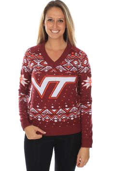 Discover the Women's Virginia Tech Sweater. Explore items related to the Women's Virginia Tech Sweater. Virginia Tech Football, What's Trending In Fashion, Tipsy Elves, Cheerleading Outfits, Ugly Christmas Sweater, Cute Tops, Cool Outfits, Mini Skirts, Graphic Sweatshirt