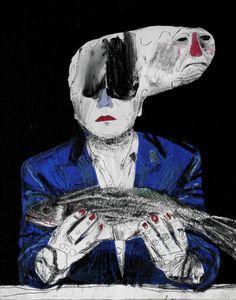 Meditation on a dead fish. Dead Fish, Great Works Of Art, The Other Art Fair, Poster Prints, Art Prints, Unusual Art, Fish Art, Outsider Art, Fine Art Paper