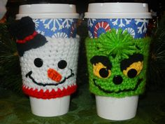 Snowman & Grinch Crocheted Coffee Cozies by OhMyGCrochet  Take out cup size $10 each  Standard Coffee Mug Size $13 each  More on fb page   https://www.facebook.com/photo.php?fbid=414018652003426=a.403641973041094.89962.258837384188221=1  Or email ohmygcrochet@gmail.com