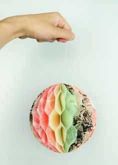Zipper Teeth: Recycled Honeycomb Tissue Paper Pouf
