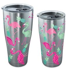 Enjoy your favorite beverage in this Flamingo Pattern Stainless Steel Tumbler from Tervis. This durable drinkware has double-wall construction and insulation that keeps hot drinks hot and cold drinks cold.
