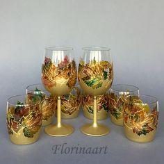 Wine Glasses, Hi-ball glasses, Tumblers Glasses, Wedding Glasses, Hand Painted Glasses, Autumn Leaves, Maple Leaves SET OF TWO