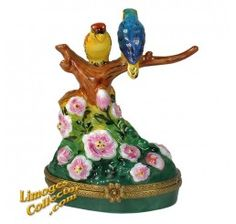 Colorful Parrots on Tree Branch Limoges Box