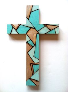 Wooden cross with illustration done by wood burning and acrylic paint. Great wall ornament with pre drilled hole on Wood Burning Crafts, Wood Burning Art, Wood Crafts, Diy And Crafts, Painted Wooden Crosses, Wood Crosses, Decorative Crosses, Crosses Decor, Mosaic Crosses