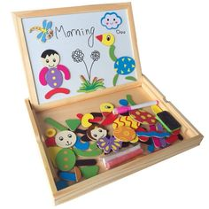 Double #sided #drawing magnetic puzzle board in wooden box w/ 40 pieces 3+ #years,  View more on the LINK: http://www.zeppy.io/product/gb/2/331986057684/