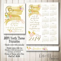2014 Youth Theme Come Unto Christ  Instant Download Print (3 sizes), Binder Covers and Binder Spine (YW and YM theme)