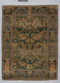 Carpet Date: 17th century Geography: Iran Medium: Silk (warp, weft, and pile), metal wrapped thread; asymmetrically knotted pile, brocaded Dimensions: Rug: L. 91 1/2 in. (23.4 cm) W. 68 in. (172.7 cm) Tube: Diam. 6 1/2 in. (16.5 cm) W. 82 in. (208.3 cm) Classification: Textiles