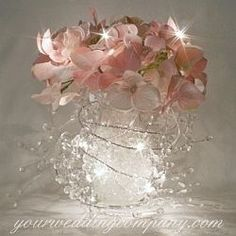 Garland Lights Wedding Centerpiece Pink Hydrangeas Maybe These Within The  Candles. ( Like Adds Some Sparkle