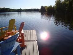 Time to relax a bit and hang out at the end of the dock now that the sun is shining! Read a book or just enjoy the lake and island views. Click the image to learn more about renting our luxury cottage! Cottage Rentals Ontario, Lake Cottage, Outdoor Chairs, Outdoor Decor, Peterborough, Renting, Life Photo, Vacation Rentals, Hanging Out