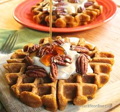 Pumpkin maple pecan waffles. // delicious flavor. I want to try the cream to go with it. I doubled and it was a messy situation but want to try again. Yummy! 5/5